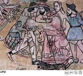 Los bosquejos originales o pentimento se pueden apreciar con claridad en esta imagen de la primera escena del Lienzo.
