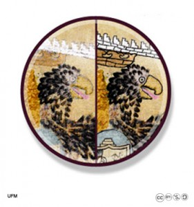 Una visualización del antes y después de la restauración digital del águila bicéfala del Lienzo.